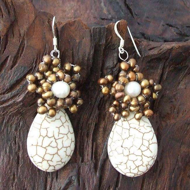 Handmade Sterling Silver White Turquoise and Pearl Earrings (Thailand)