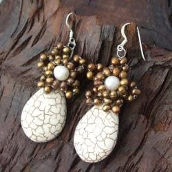 Handmade Sterling Silver White Turquoise and Pearl Earrings (Thailand) - Thumbnail 1