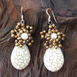 Handmade Sterling Silver White Turquoise and Pearl Earrings (Thailand) - Thumbnail 2