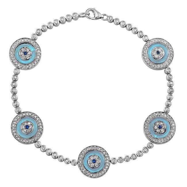 14k White Gold 1 1/4ct TDW Diamond and Sapphire Evil Eye Bracelet (J, I2)