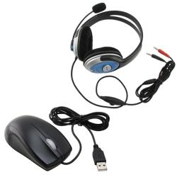 INSTEN Ergonomic Optical Scroll Wheel Mouse/ Handsfree Stereo Headset