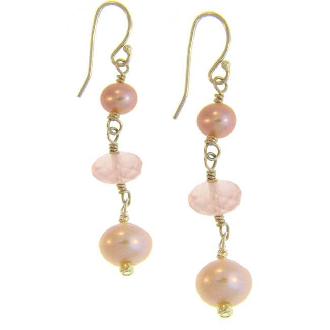 Misha Curtis Silver Pretty-in-Pink Rose Quartz/ Freshwater Pear