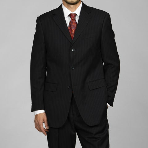 Men's Navy Blue Pinstripe 3-button Suit
