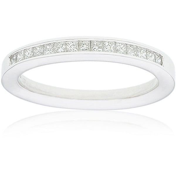 Montebello 14k Gold Women's 1/4ct TDW Certified Princess Diamond Wedding Band (G-H, SI3-I1)
