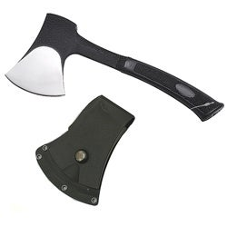 Tactical 11-inch Silver-color Blade with Black Sheath Heavy-duty Axe