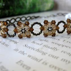 Stainless Steel Crystal Brown Sun Flower Choker