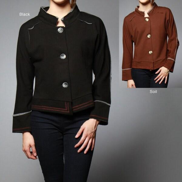 AtoZ Women's Mandarin Collar Jacket