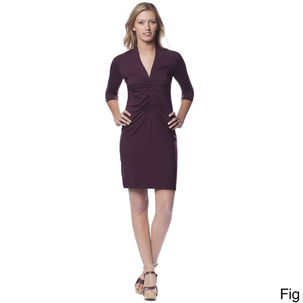 AtoZ Women's Ruched Front V-neck Dress