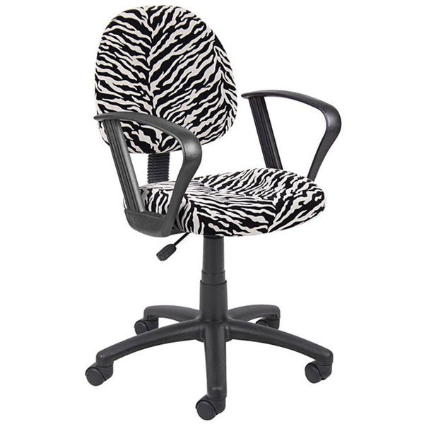 Boss Padded Wheeled Task Chair with Black and White Zebra Pattern