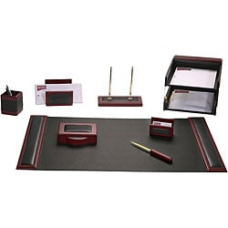 Dacasso Wood and Leather 10-piece Desk Set