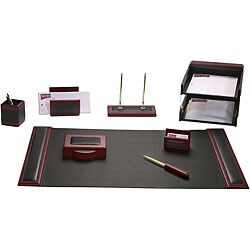 Dacasso Wood and Leather 10-piece Desk Set (Option: Rosewood & Leather)