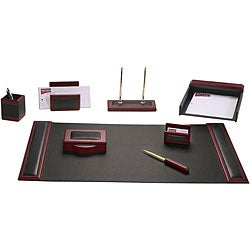 Dacasso Wood and Leather 8-piece Desk Set