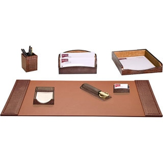 Dacasso Crocodile-embossed Leather 7-piece Desk Set