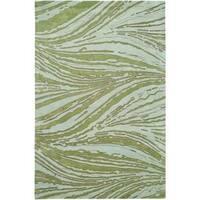 Handmade Thom Filicia Niagra Spring Green N.Z. Wool Rug - 5' x 8'
