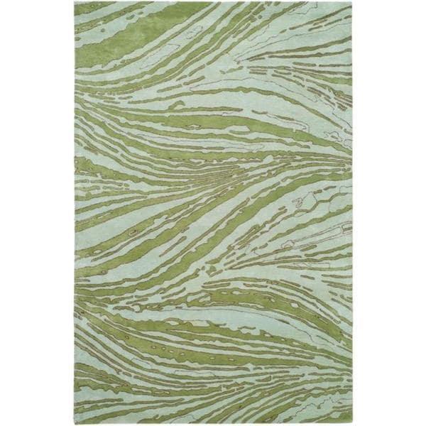 Handmade Thom Filicia Niagra Green N.Z. Wool Rug - 8' x 10'