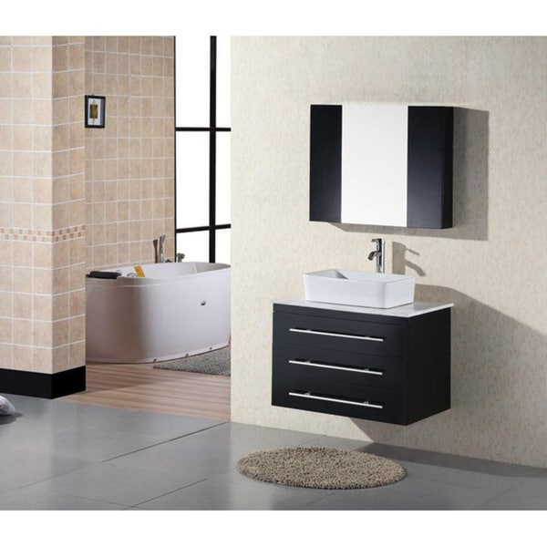 Design Element Contemporary Wall Mount Espresso Bathroom Vanity Set