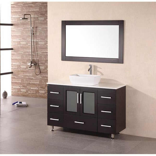 Design element stanton 48 inch espresso bathroom vanity for Bathroom 48 inch vanity