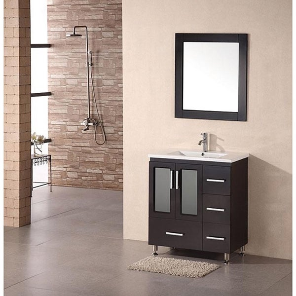 Design Element Stanton 30 Inch Espresso Drop In Sink Bathroom Vanity Free Shipping Today