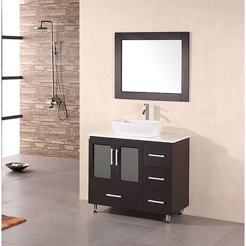 Design Element Stanton 36 Inch Vessel Sink Espresso Bathroom Vanity