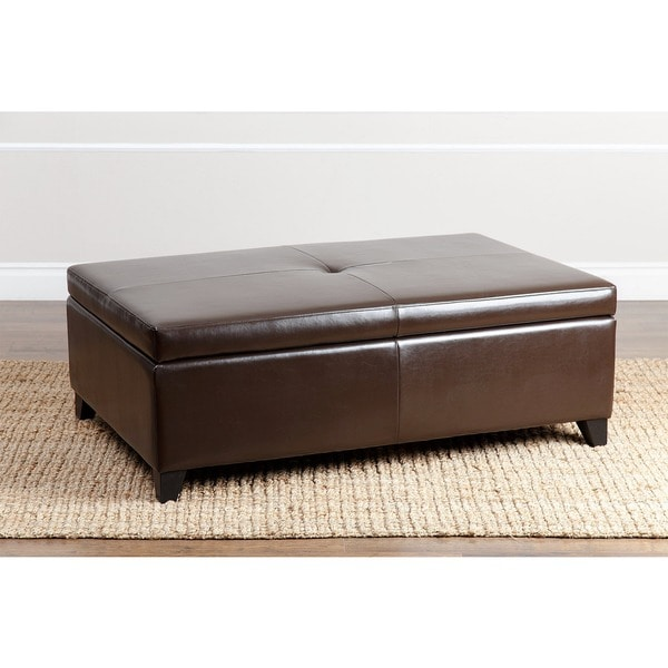 Abbyson Frankfurt Leather Flip-top Storage Ottoman