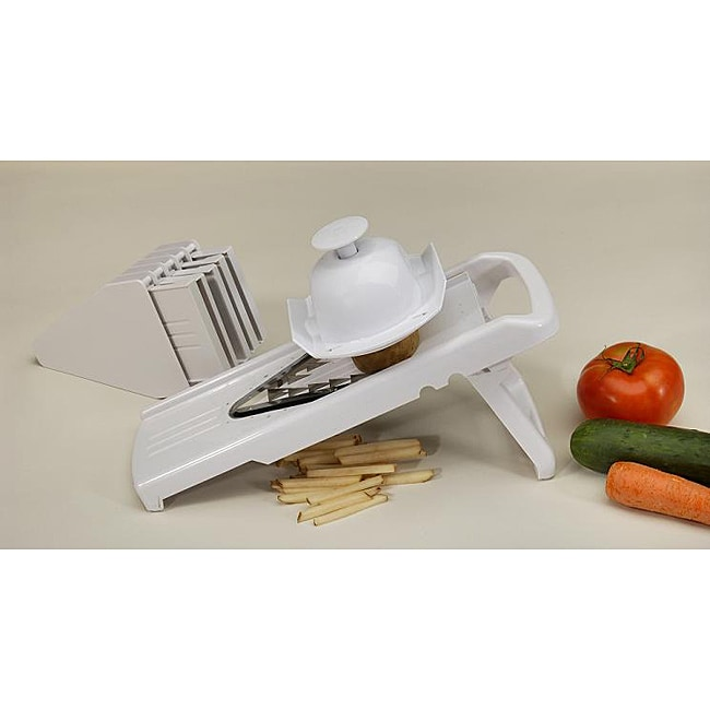 White V-shape Blade Mandolin Slicer with 5 Interchangeable Blades