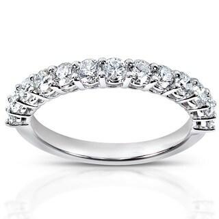 Annello by Kobelli 14k White Gold 3/4ct TDW Diamond Wedding Band