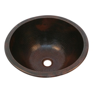 Unikwities 14.5 X 6.5 inch Round Undermount Bronze Copper Sink