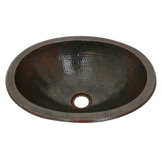 Unikwities 16 X 12 X 5 inch Oval Solid Copper Sink with Bronze Finish