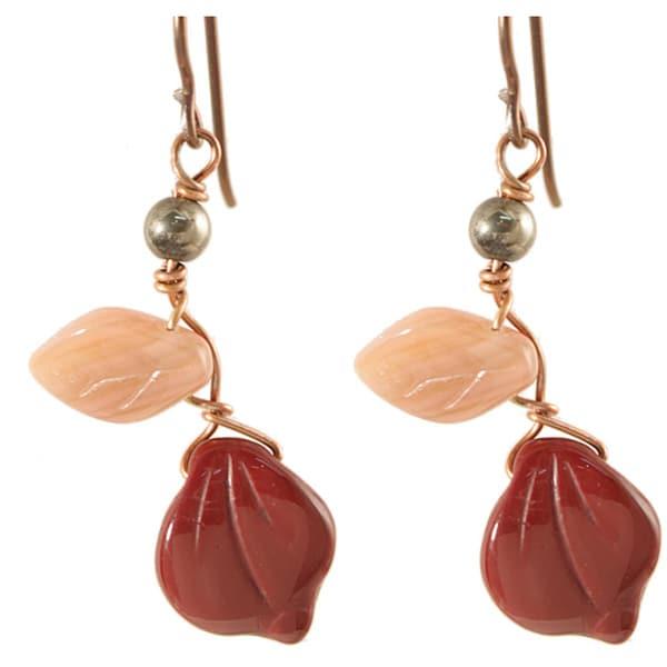 Copper Deep Burgundy and Mauve Vines of Tenacity Earrings