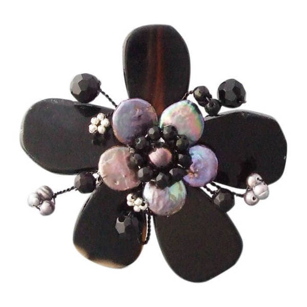 Handmade Black Agage and Pearl Flower Cuff Bracelet (3-5 mm) (Thailand)