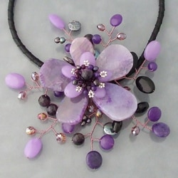 Handmade Amethyst and Coin Pearl Star Flower Necklace (3-5 mm) (Thailand) - Thumbnail 1