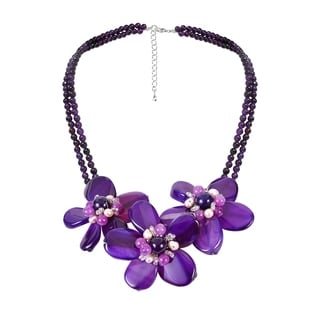 Handmade Sterling Silver Amethyst and Pearl Triple Flower Necklace (3-5 mm) (Thailand)
