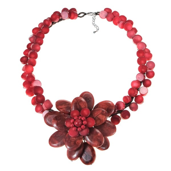 Handmade Sterling Silver Reconstituted Red Coral Flower Choker Necklace (Thailand)