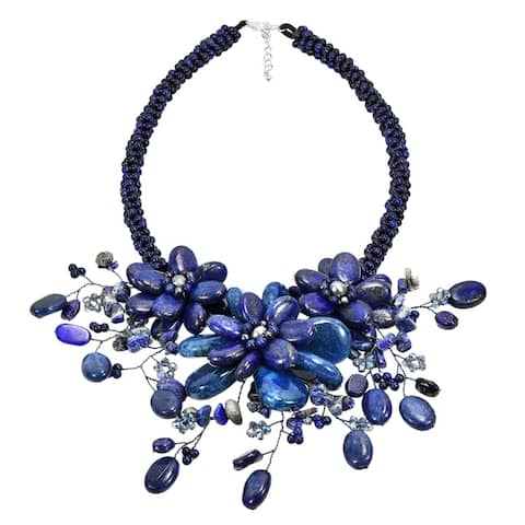 Handmade Blue Lapis and FW Pearl Floral Bouquet Stone Choker (3-8 mm) (Thailand)