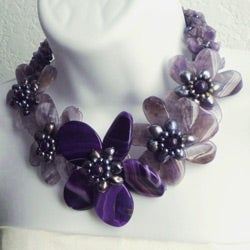 Purple Amethyst and FW Pearl Floral Wrap Choker (3-12 mm) (Thailand) - Thumbnail 1