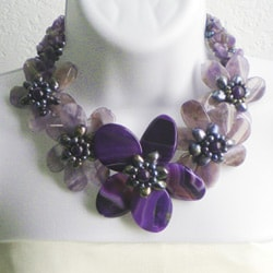 Purple Amethyst and FW Pearl Floral Wrap Choker (3-12 mm) (Thailand) - Thumbnail 2