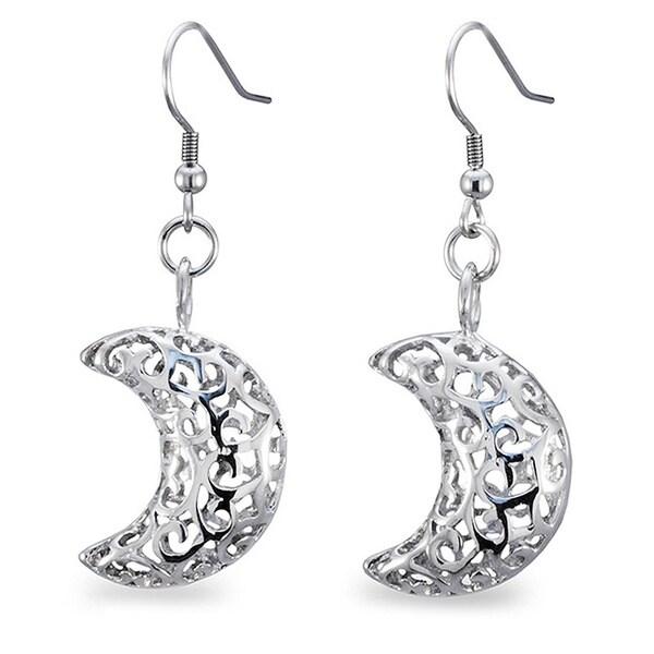Stainless Steel Filigree Cut-out Half Moon Earrings