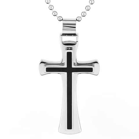 Stainless Steel and Black Resin Inlay Cross Necklace