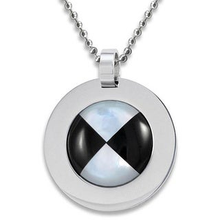 West Coast Jewelry Stainless Steel Mother of Pearl and Onyx Necklace