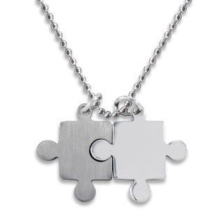 Stainless Steel Brushed/ Polished Puzzle Piece Necklace