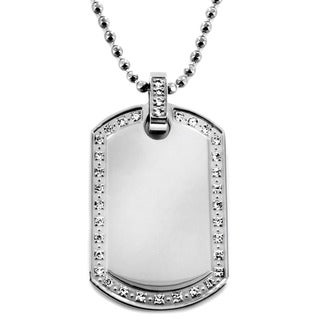 West Coast Jewelry Stainless Steel Polished Cubic Zirconia Dog Tag Necklace