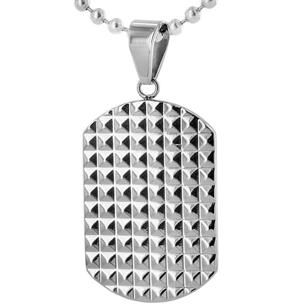 Stainless Steel Polished Geometric Pattern Dog Tag Necklace