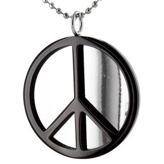 Stainless Steel Black Peace Sign Polished Necklace