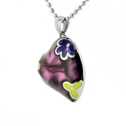 West Coast Jewelry Stainless Steel Purple Resin Heart Necklace - Thumbnail 1