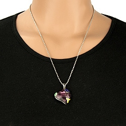 West Coast Jewelry Stainless Steel Purple Resin Heart Necklace - Thumbnail 2