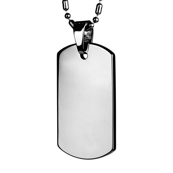 Men's Tungsten Carbide Polished Dog Tag (Includes Necklace)