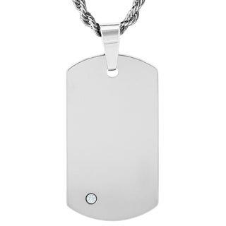 Crucible Men's Tungsten Cubic Zirconia Dog Tag - Silver