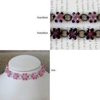 "Handmade Stainless Steel Crystal Pink Sunflower Choker (USA) - 16.5""L"