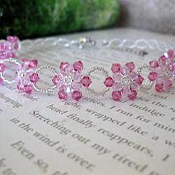 Handmade Stainless Steel Crystal Pink Sunflower Choker (USA) - Thumbnail 1