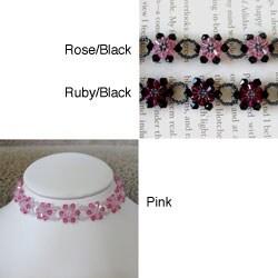 Handmade Stainless Steel Crystal Pink Sunflower Choker (USA)